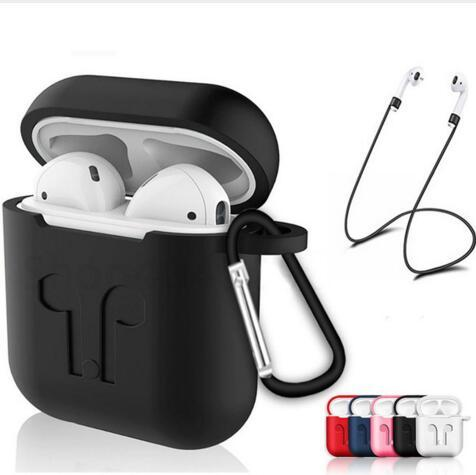 For Apple AirPods Protective Shockproof Silicone Case Pouch with Anti-lost Strap Dust Plug for IPhone 7 Bluetooth Earphone New