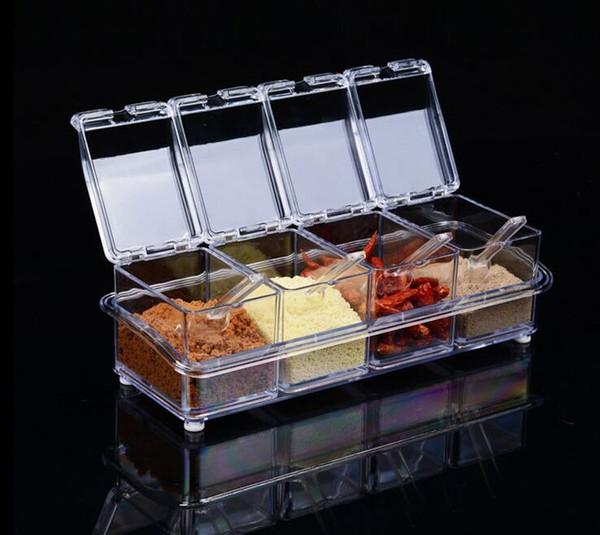 Newly 4Pcs Acrylic Table Spice Set Seasoning Box Spice Jar Bottle Condiment Storage Jar Kitchen Supplies