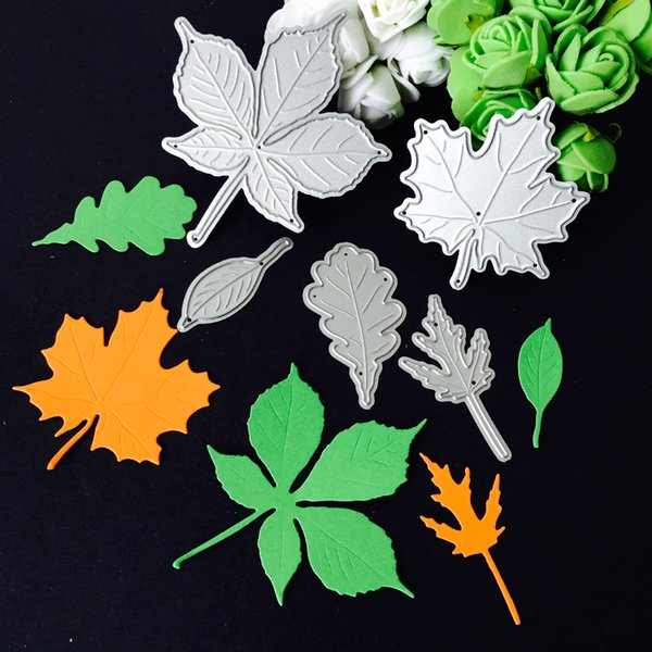 YLCD266 5pcs Leaves Metal Cutting Dies For Scrapbooking Stencils DIY Album Cards Decoration Embossing Folder Die Cutter Template
