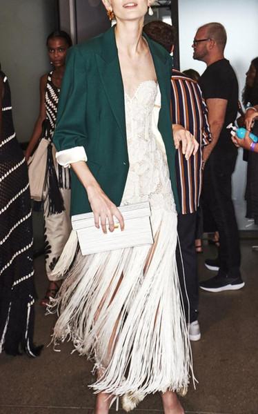 2018 yeni yüksek kalite kadınlar elbise toptan beyaz straplez dantel bandaj elbise saçak parti + suit