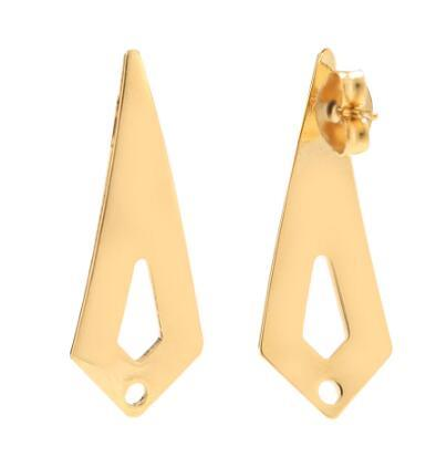 10pcs Surgical Steel Real Gold Plated Arrow Ear Post Stud Earrings with 1.5mm Holes for Dangle Earring Jewelry Making