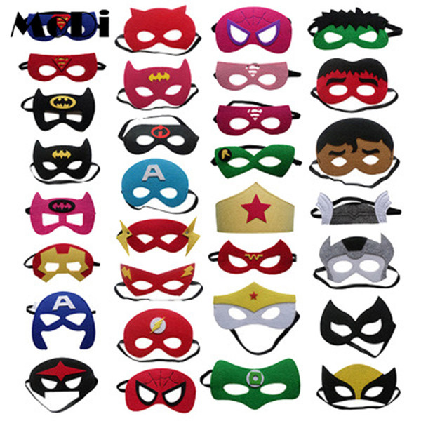 Super Hero Batman Half face Mask Cartoon Makeup Halloween Xmas Captain America Spiderman Ironman Thor Superman Hulk Cosplay birthday gifts