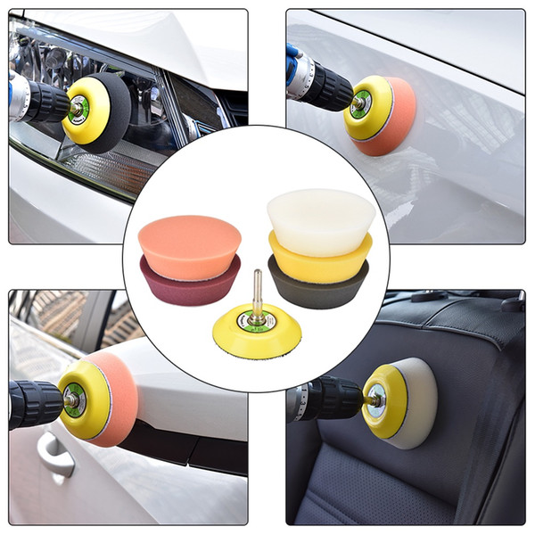 7Pcs 3 Inch Sponge Polishing Waxing Buffing Pads Compound Kit for Car Cleaning
