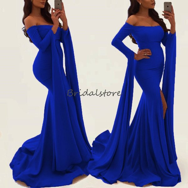 New Black Girls Dubai Prom Dresses Boat Neck Caftan Abaya Formal Party Evening Gowns Mermaid Front Splits special occasion dresses Wear 2019