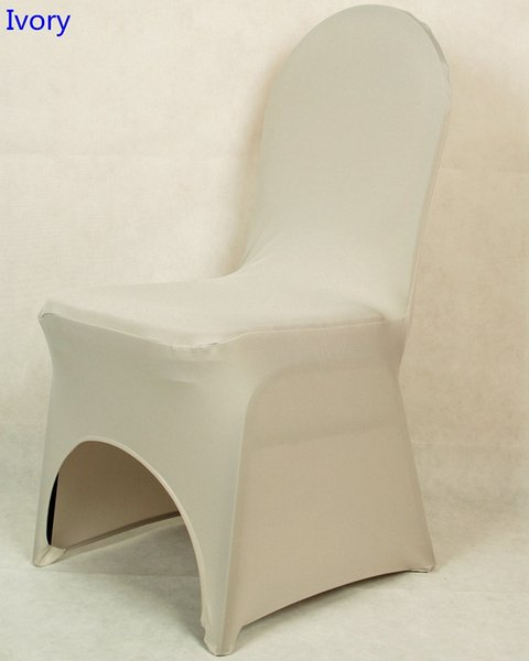 Ivory colour lycra universal chair cover for wedding decoration spandex chair cover on sale banquet chair arch front open