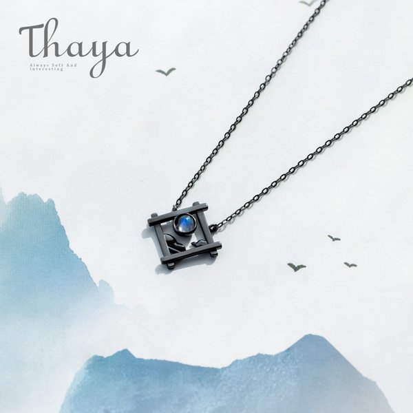 Thaya Endless Night Blue Natrual Moonstone Pendant Necklace S925 Silver Sky Window Cloud Mysterious Black Jewelry For Women Y19061003