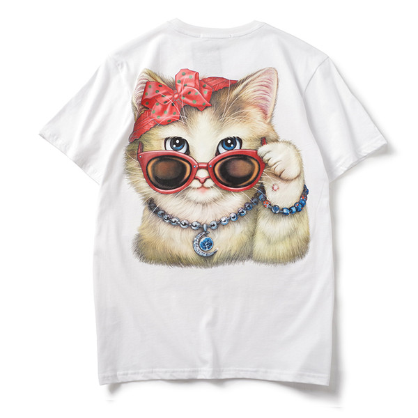 2019 latest HOT best Quality uxury Brand Spectacle cat printing Summer clothes Short sleeved Fashion Trend JOKER T-SHIRTS TOPS