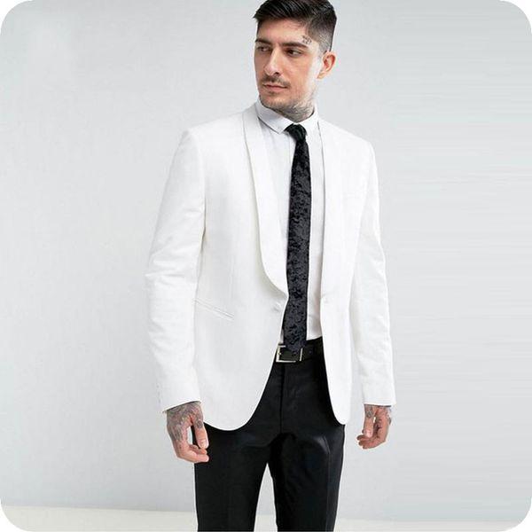 Slim Fit Groom Tuxedos Ivory Men Suits for Wedding Shawl Lapel One Button Gentle Groomsmen Suit Man Blazer 2Piece Jacket Pants Costume Homme