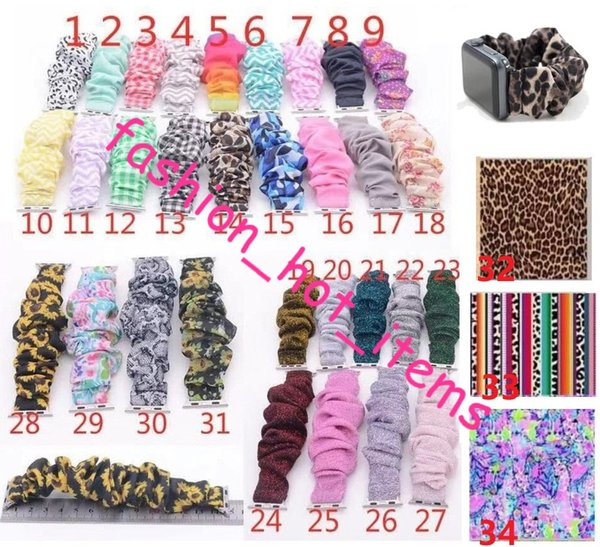 top popular Serape Leopard Watchband Scrunchie Leopard more than 34 Colors RTS Scrunchie Watchband Sunflower Solid Color band for woman 2019
