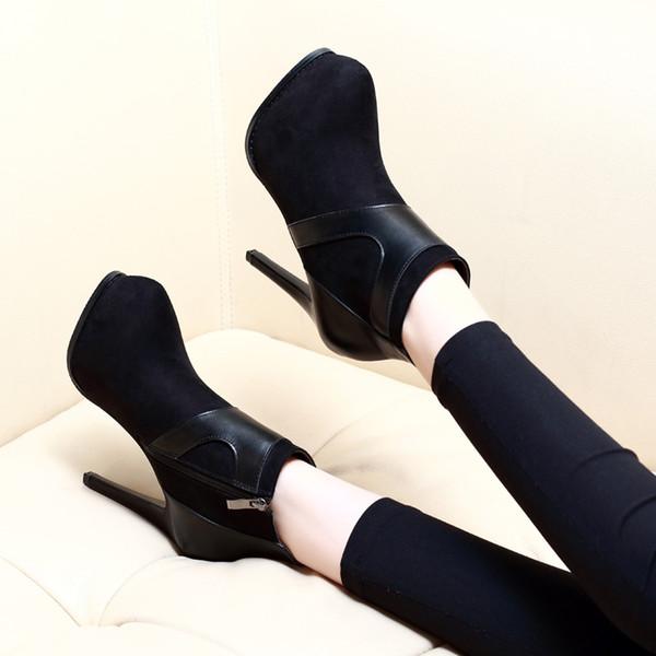 Heiße Sale-Winter Fashion Womens Schuhe Sexy High Heel Stiefeletten Round Toe Plateauschuhe 11cm Größe 34 bis 39