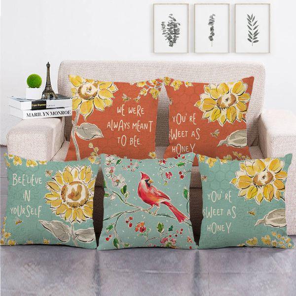 45 cm * 45 cm Crisântemo e Red Birds design de linho / algodão throw pillow covers sofá capa de almofada home decor travesseiro
