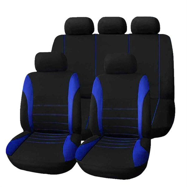 Seat Covers Universal Car Seat Cover 9 Set Full Crossovers Sedans Auto Interior Accessories Full Cover Set for blue Full Seat Covers