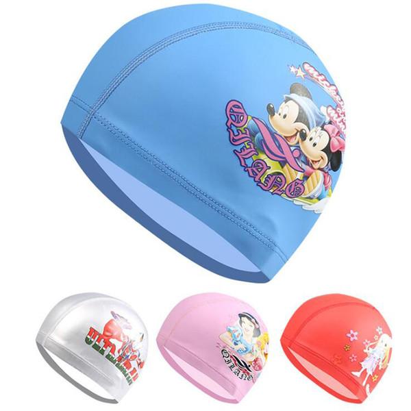 Cute Cartoon PU Fabric Kids Children Swimming Cap Hat Swim Pool Sport Protect Ears Long Hair for Girls Boys Multi Pattern Colors