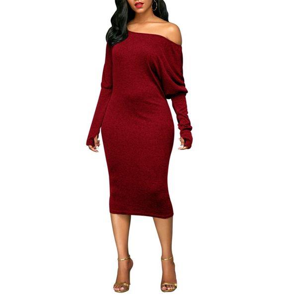 2018 New Fashion Sexy Women Dress Off Shoulder Long Sleeve Dress Cut Out Bat Sleeves Solid Elegant Party Club Midi Dresses