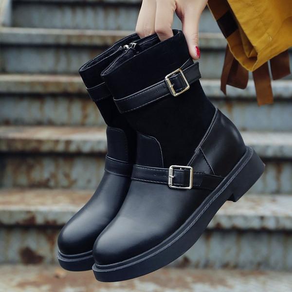 2019 Winter Classic Vintage  Boots Women Warm Fur Platform Leather Shoes Zippers Black Ankle Boots Waterproof Ladies Shoes