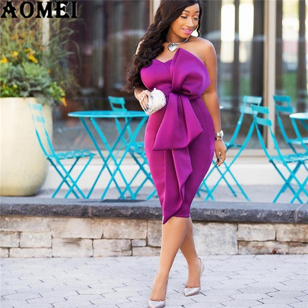 Women Bodycon Dress Off Shoulder Backless With Bowtie Sexy Lady Party Clubwear Dinner Evening Slim Tunic Femme Package Hip Robes Q190511