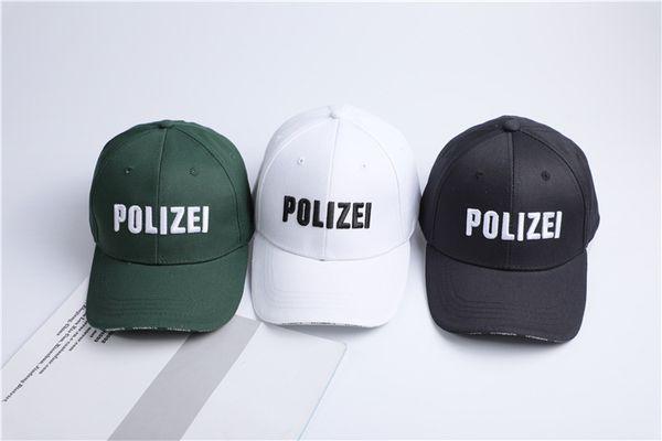 Polizei Lettere Ricamato Casual Maschile Maschio Designer femminile Cappelli Unisex Hip Hop Cappelli Uomo Donna
