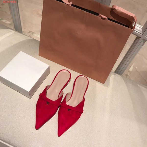 Spring and summer new style water diamond low heel set foot Sheep wool Leather loafers Baotou for women shoes slippers