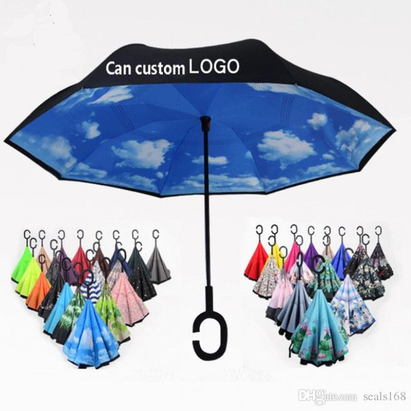 56 Styles Folding Reverse Umbrella Double Layer C Handle Umbrellas Unisex Inverted Long Handle Windproof Rain Car Umbrellas Gifts HH7-1950