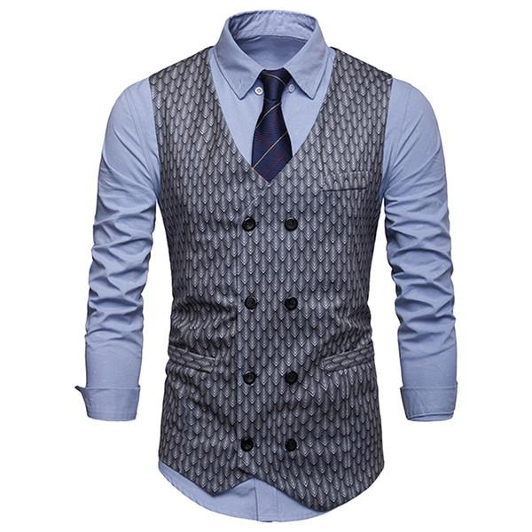 Mens Fashion Print Suit Suit Vest de haute qualité pour hommes robe de mariée gilet gilet 2019 nouveaux hommes costume décontracté