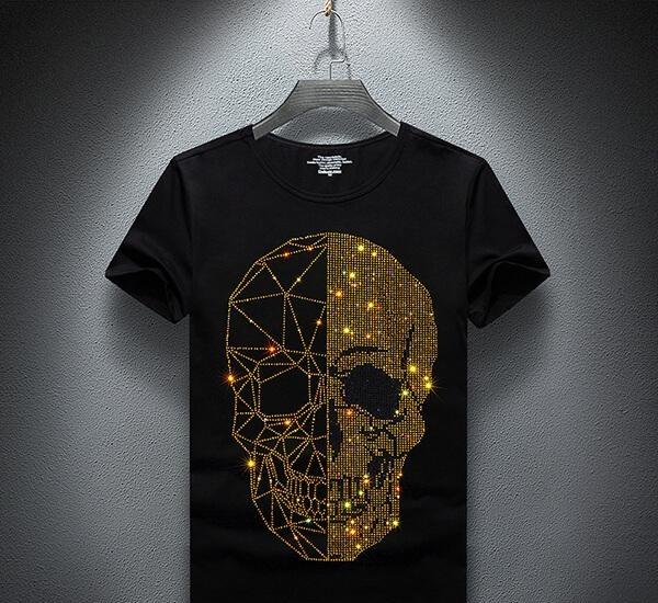 Summer Top Skulls Hommes strass T-shirts Modal coton O manches courtes T-shirt Slim