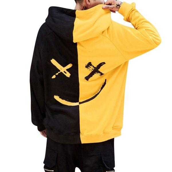 Unisex Gencin Güler Yüz Kazak patchwork Moda Hoodie Ceket Kazak boy kapşonlu harajuku sudadera mujer yazdır