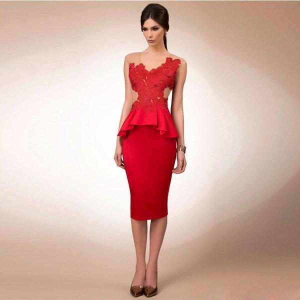 Red Sheath Knee Length Bridesmaid Dresses V-neck Hollow Back Peplum Satin Cocktail Gown Column Short Prom Dress for Wedding