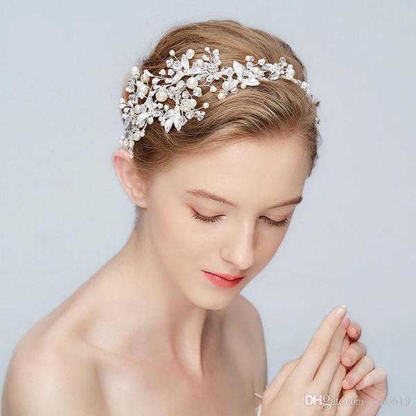 Nueva hoja de plata diadema nupcial tiara perlas de la boda del pelo accesorios corona moda mujer baile pieza de cabello joyería hecha a mano