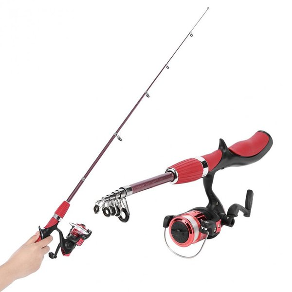 Fishing Rod Tack Combo Ice Fishing Spinning Reel Telescopic Pole Gear Set Reel PE Hook Lure Box As Gift Full