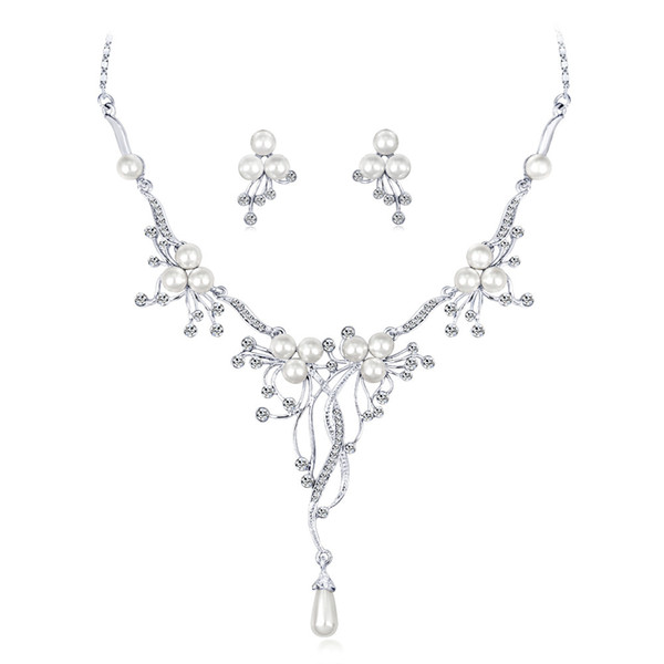 hair accessories for women tiara Cross-border hot pearl necklace Fashion rhinestone wedding match necklace set Factory direct sales