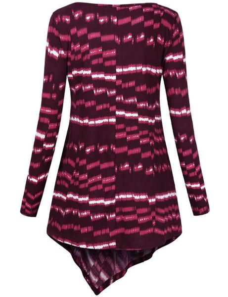 Faddare Asymmetrical Top, Women's Full Sleeve Print High-Low Hem T-Shirt Loose Fit Long Tunic Dress,Wine S