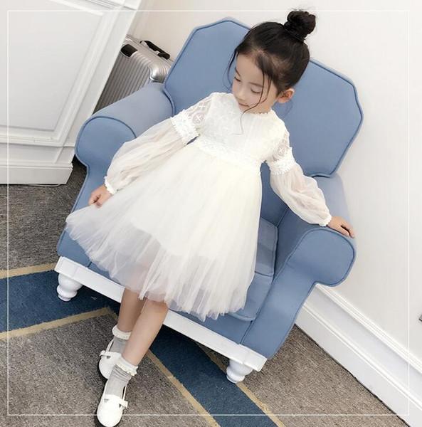 Populares nuevos vestidos de primavera y verano para niñas mangas largas para niños Princesa de encaje ventas directas, pedidos de bienvenida