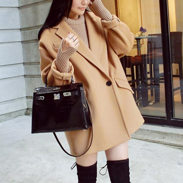 2018 new high quality double-faced Wool Coat fashion Women lapel Outwear camel Jacket Casual Autumn Winter Elegant Overcoat