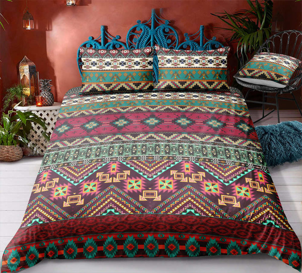 Thumbedding Dropship Single Double Floral Red Striped Bedding Sets Indian Style Twin Full Queen King 3D Duvet Cover Set with Pillowcase