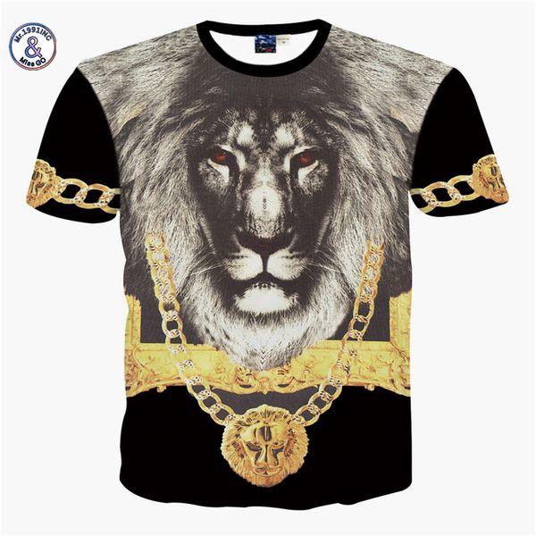 2017 Mr.1991INCMiss.GO Verano Nuevo Mr GUGU Mis GO versa Camiseta 3D flor León dorado Impresión de camiseta de león africano