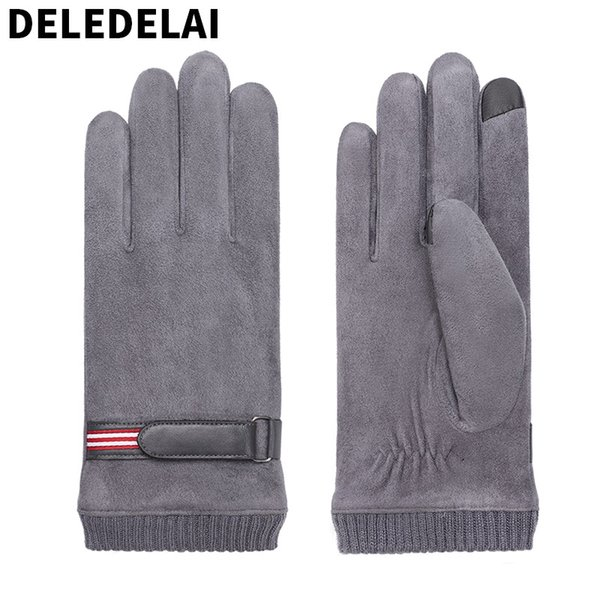 DELEDELAI 2018 winter autumn warm touch screen new fashion men gloves wind proof driving male mittens item number 855
