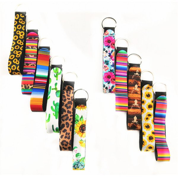 best selling Wristlet Keychains Lanyard Sunflower Leopard Serape Cactus Prints Strap Band with Split Ring Key Chain Holder Cool Key Fob T286