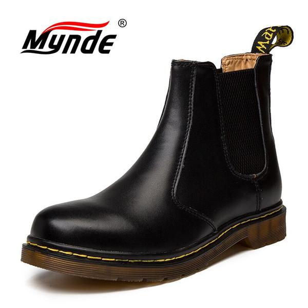 Sonbahar Kış Hakiki Deri Ayak Bileği Çizmeler Erkek Ayakkabı Vintage Klasik Erkek Yüksek Kaliteli Deri Ayak Bileği Çizmeler Büyük Boy 38-45