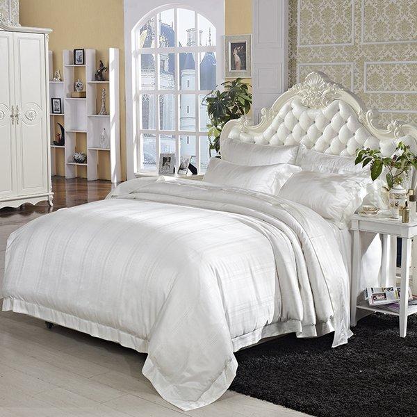 Cream White Mulberry Silk Cotton Luxury Wedding Bedding set Ultra Soft 4Pcs King size Jacquard Duvet cover Cotton Bed sheet set