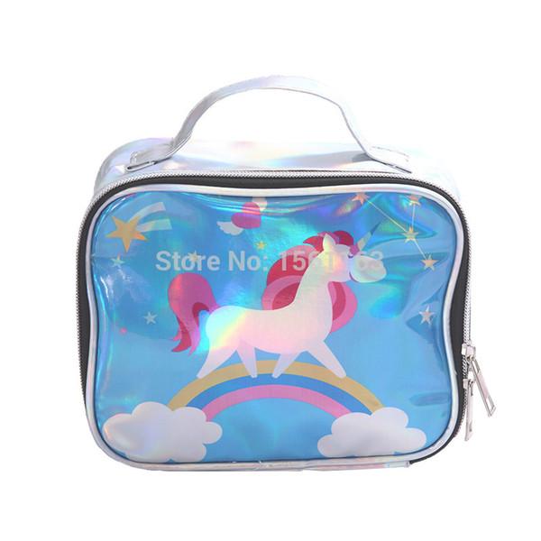 Travel Makeup Bag Organizer Unicorn Cosmetic Case Wash Box Portable Toiletry Storage Pouch Cartoon Make Up Tote Handbag