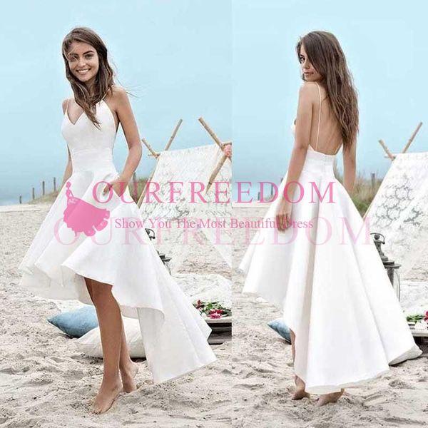 High Low Short Beach Wedding Dresses 2019 A Line Vestido De Noiva Cheap Merry Sexy Straps pocket Satin Simple Cheap Summer Bridal Gowns