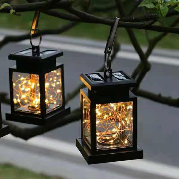 2019 Hanging Solar Lights Outdoor Hanging Lanterns Lights Solar Fairy String Lights Outdoor Dusk To Dawn Auto On Off For Garden Patio Yard Decor From