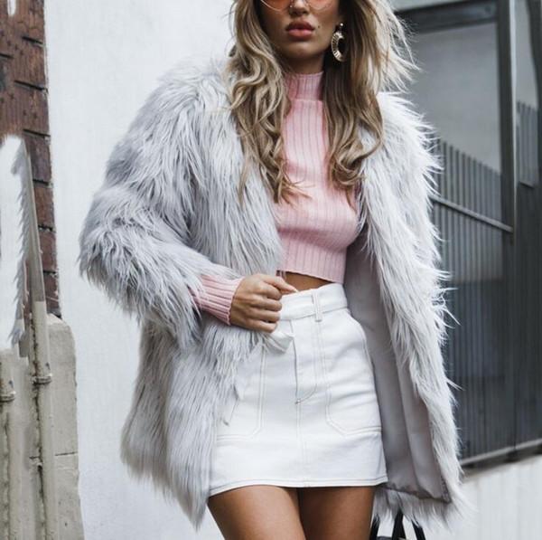 Faux fur women's jacket long hair new autumn and winter spot fashion ladies faux fur long-sleeved long coat female