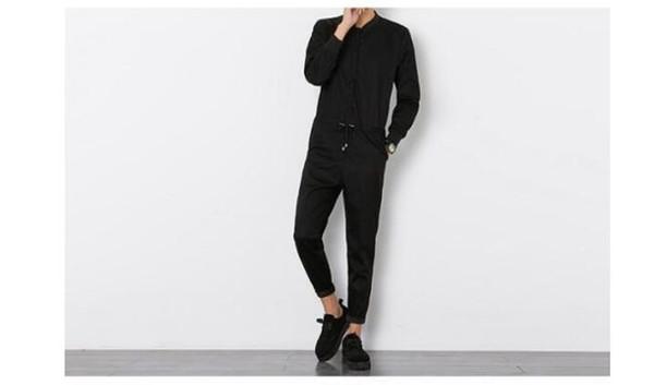 Free shipping 2018 Mens Black Long Sleeved Jumpsuit Male Elegant Cool Overalls Summer Hip-Hop Rompers Harem Bib Pants 041605