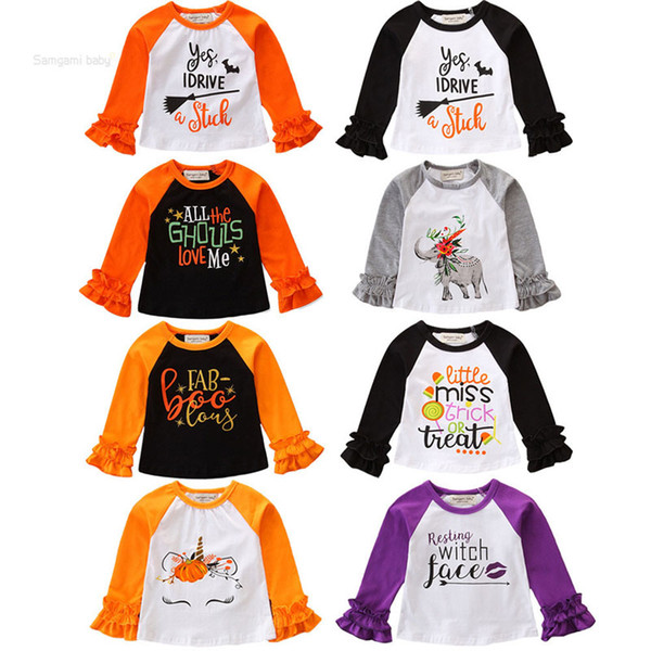 Baby Halloween T-Shirts 8 Colors Cotton Long Sleeve Cartoon Pumpkin Ghost Letter Printed Lace Top Kids Designer Clothes Girls Tops 1-6T 04