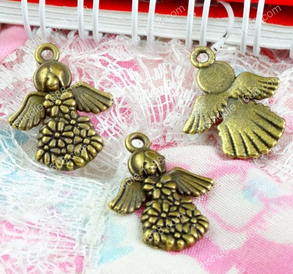 50pcs 17*21.5MM antique bronze tibetan fashion angel fairy charms for bracelet vintage metal pendants earring handmade DIY jewelry making