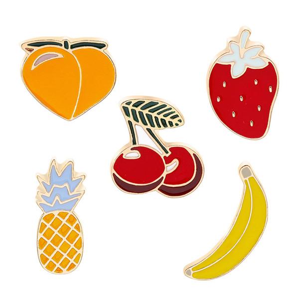 peach Kiwi Strawberry cherry Banana Apple Pineapple Cartoon Fruit Fashion Brooches For Women And Kids
