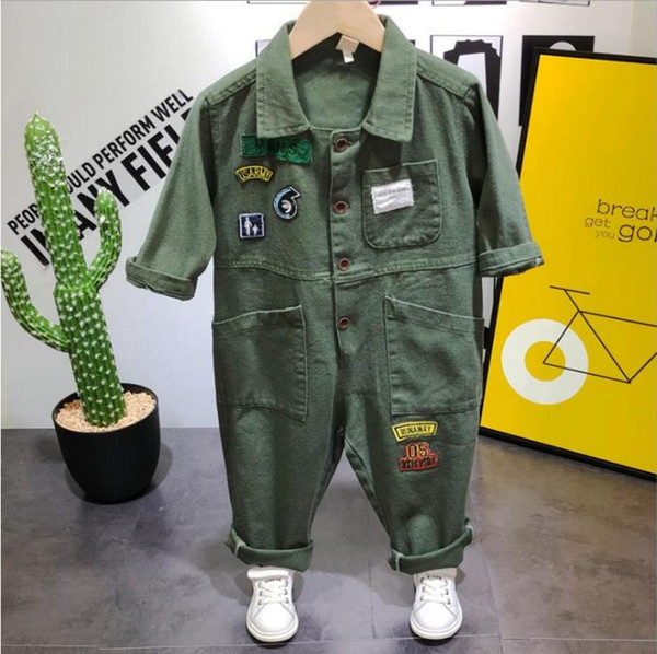 top popular New Children's clothes Spring&Autumn Children's Wear Set Children's Casual Workwear Denim One-piece Clothes Boys 2021