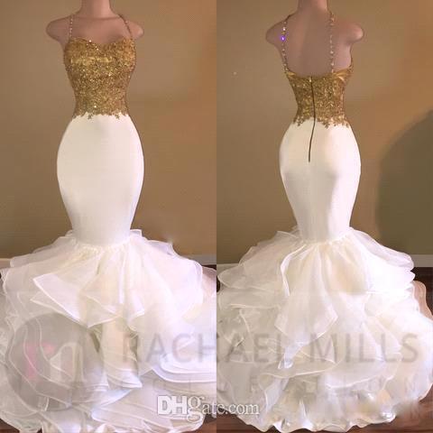 Sexy Träger White Mermaid Gold Applizierte Pailletten Abendkleider 2019 Sparkly Organza Rüschen Sweep Zug Abend Party Kleider Arabic Celebrity