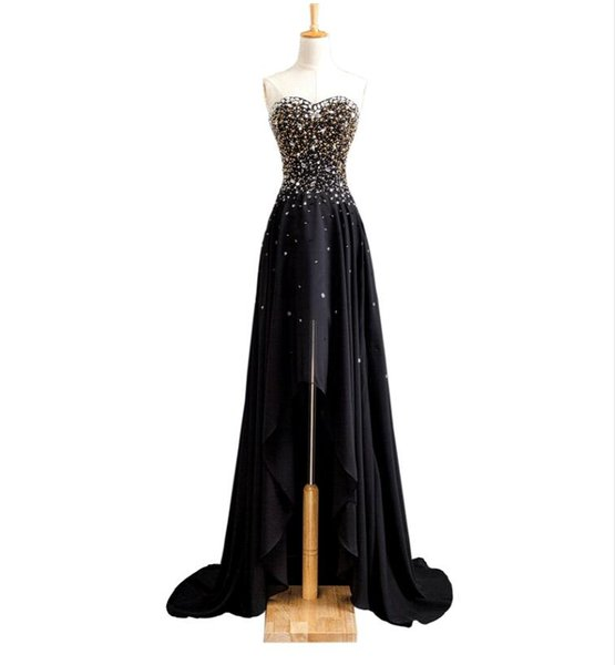 Prom Dresses Long Evening Wear Formal Dresses Crystal Beaded Sweetheart Neck Black Red Chiffon High Low Beach Party Gowns Vestido De Festa